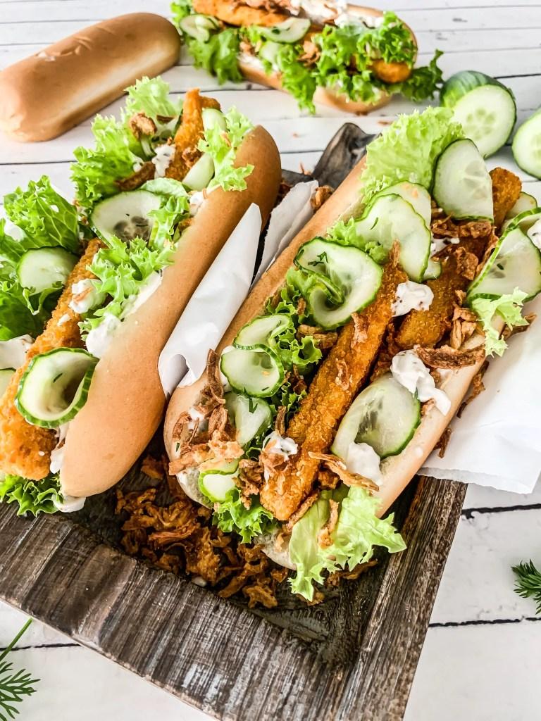 Fischstäbchen Hot Dogs