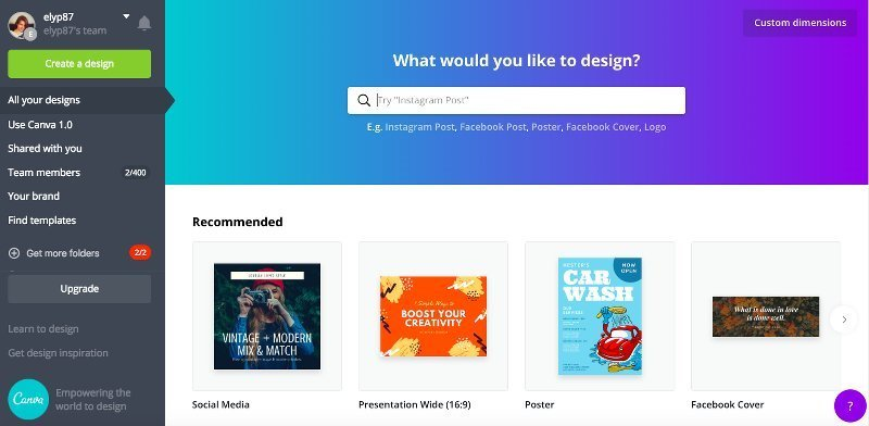 creare grafiche online gratis per i social con Canva