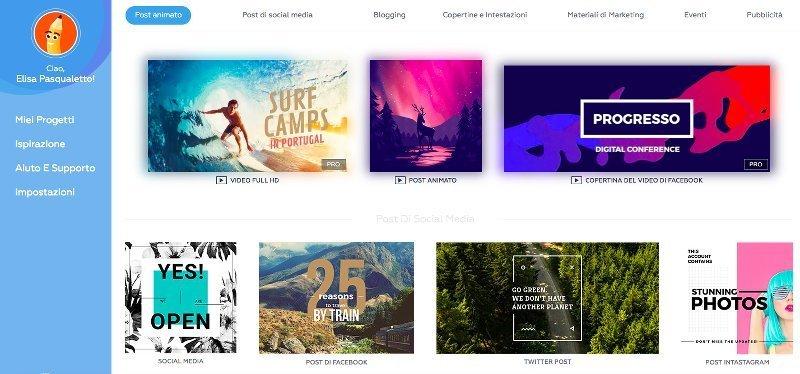 creare grafiche online gratis per i social con Crello