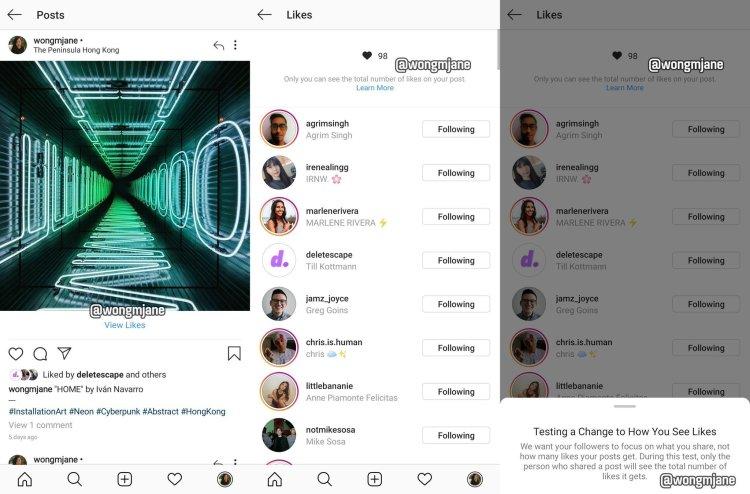 Instagram nasconde i like di Instagram
