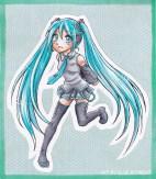 Fanart på Hatsune Miku (Vocaloid). Färglagd för hand med Copic.  2011.