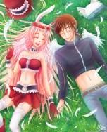Fanart på Meroko och Takuto från Full Moon wo sagashite (Arina tanemura, shueisha). Digital. 2014