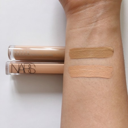 Nars radiant creamy concealer and becca aqua luminous concealer