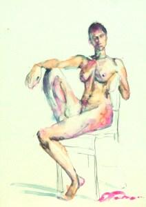 "Figure 3, 5""x7"", watercolor on claybord, ©ElishaDasenbrock2016"