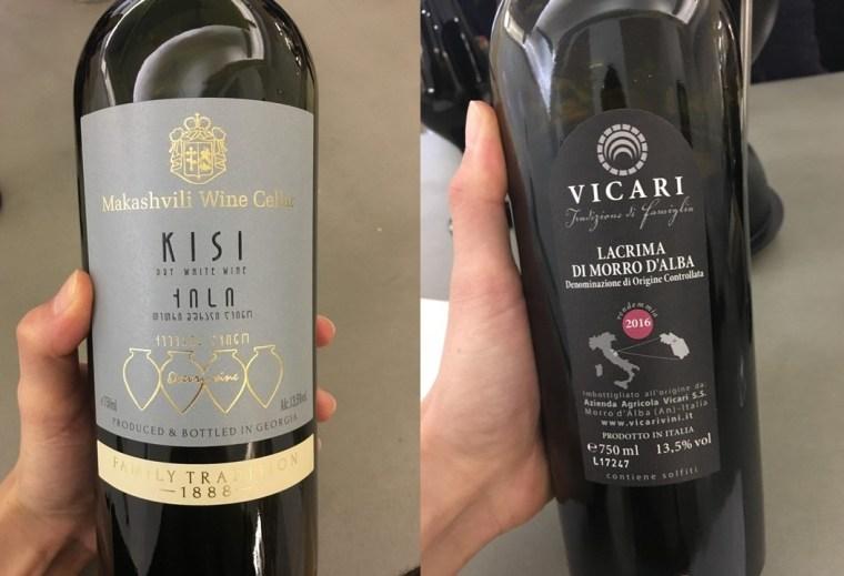 Bouteille de vin orange Kisi et vin italien Lacrima di Morro