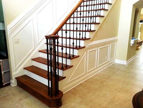 Stairs Rails Elite Construction | Iron And Wood Railing | Modern | Brown | Front | Horizontal | Craftsman