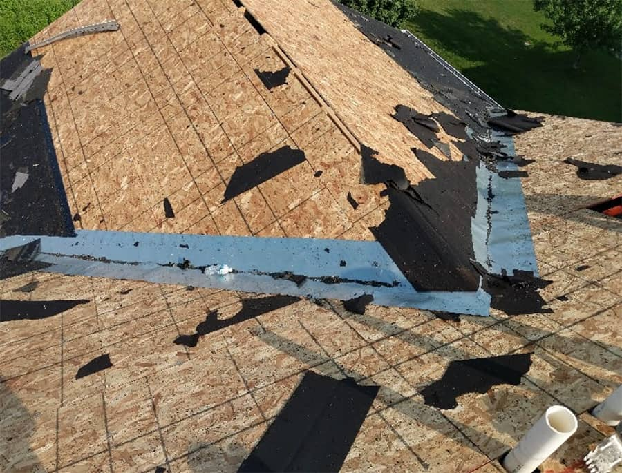 Flashing Valley Liners on roof after shingles removed