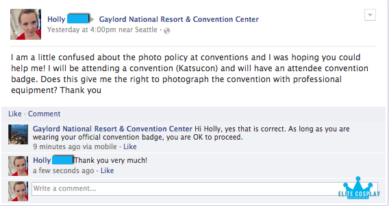 Gaylord National Photo Policy at Conventions