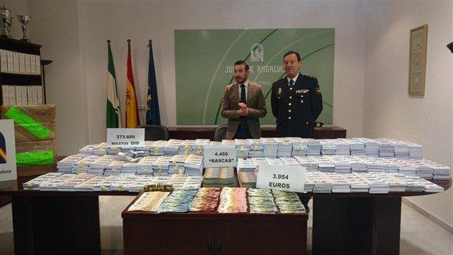 Intervenidos más de 200.000 boletos ilegales de lotería