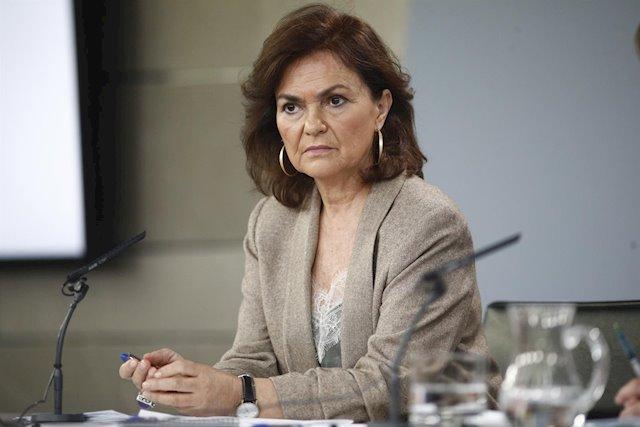 Carmen Calvo, vicepresidenta primera del Gobierno, asegura se planteará una 'última' prórroga del estado de alarma