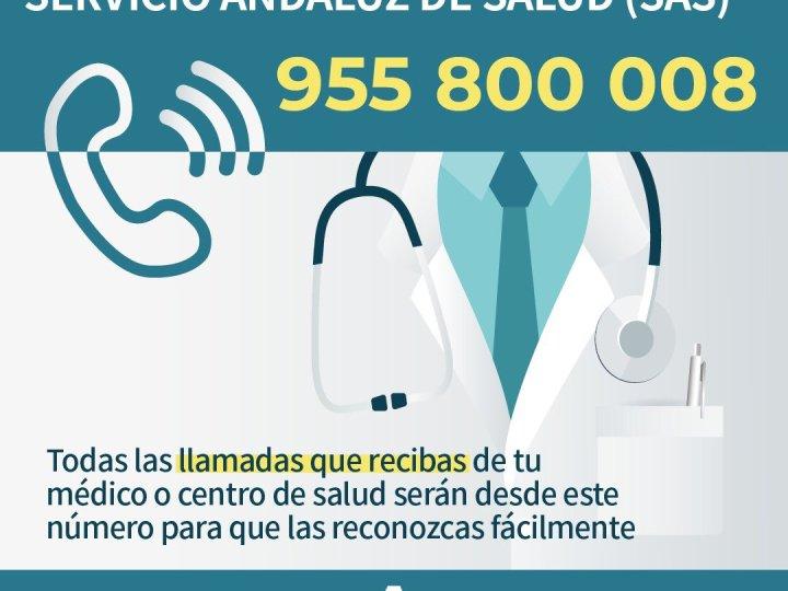 El Servicio Andaluz de Salud establece el 955800008 como único número de llamadas salientes