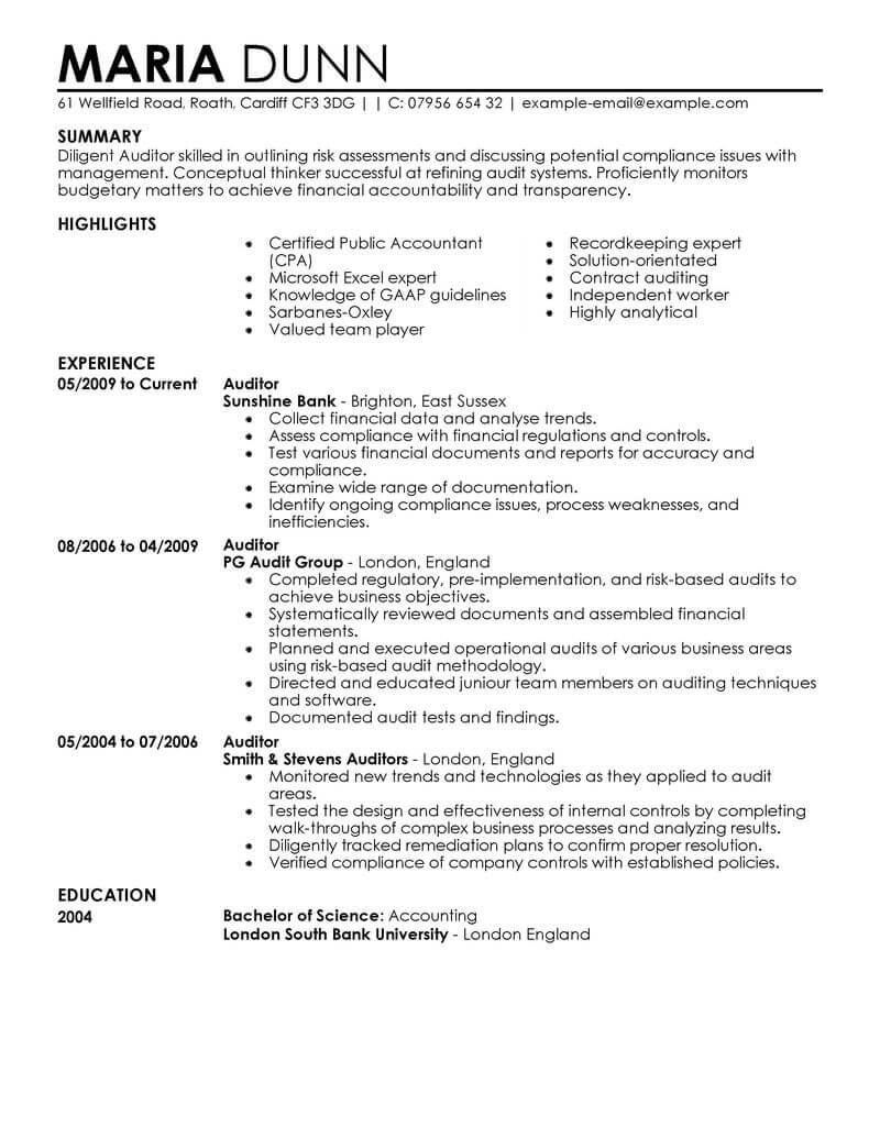 Best Auditor Resume Example From Professional Resume