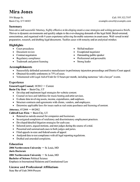 Resume For Lawyers - Resume Sample