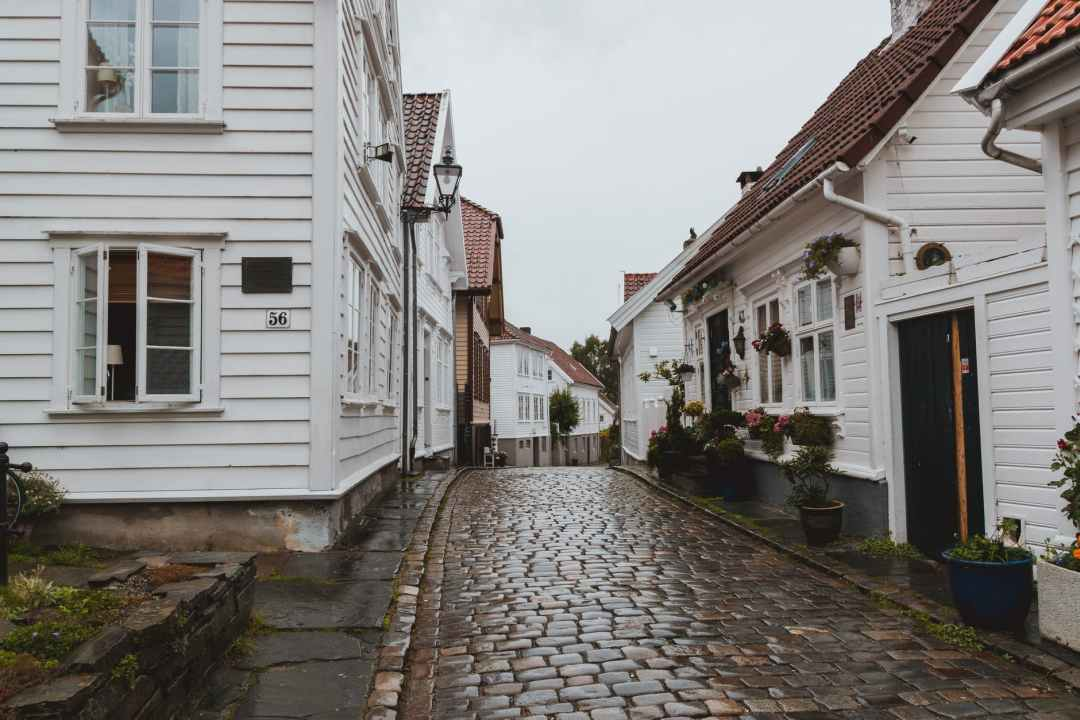 narrow paved street with houses