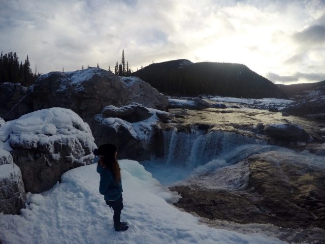 Elbow Falls Waterfall Winter