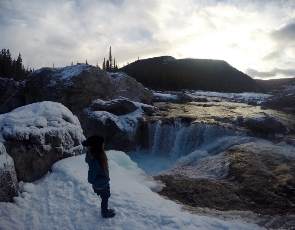 Elbow Falls Waterfall Winter