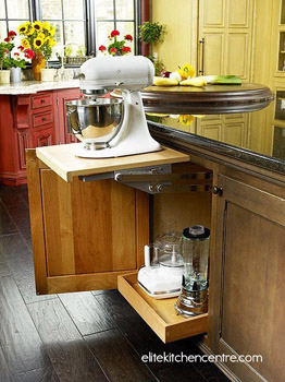 Pull-out storage for kitchen appliances.