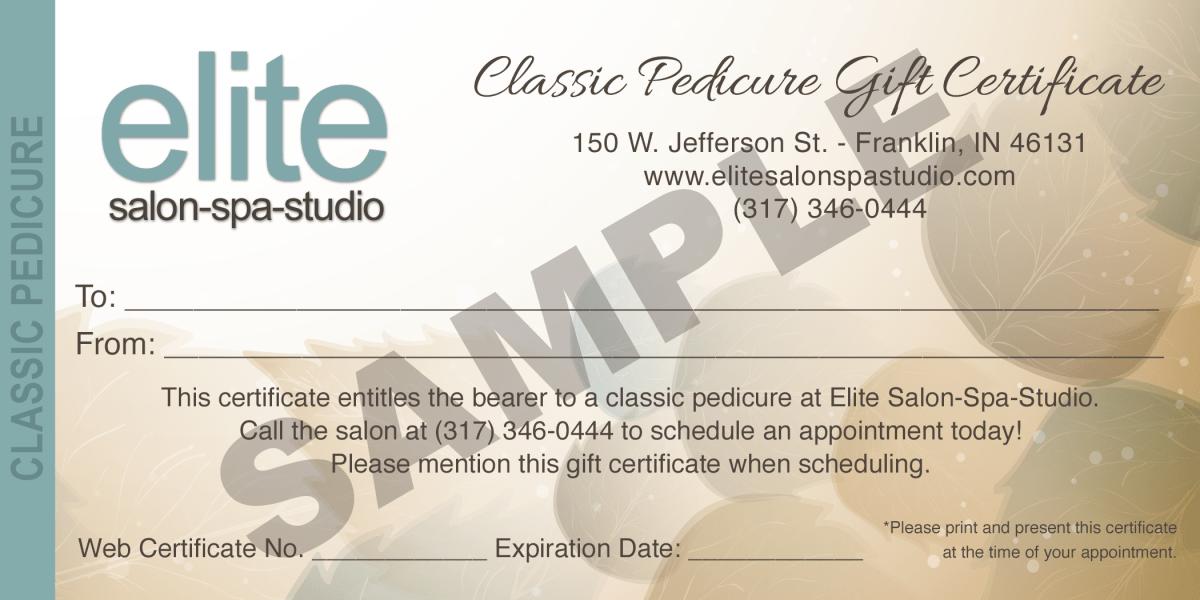 Pedicure Gift Certificate Elite Salon Spa Studio