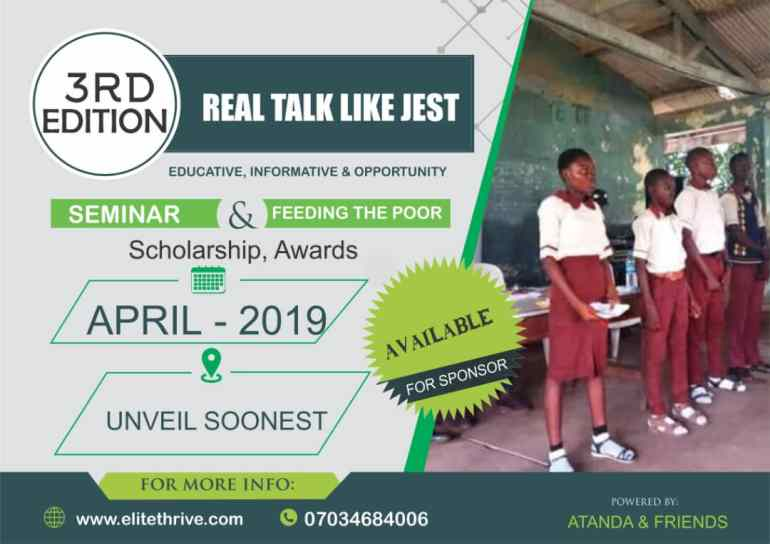 "3rd Edition: ATF To Hold Educative Awareness Program ""Real Talk Like Jest"""