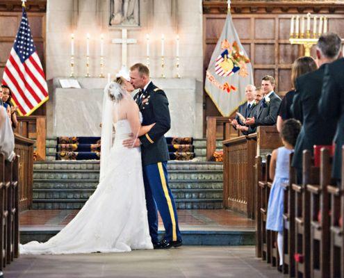 Katie and Tyson kiss Elite Wedding