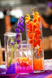 red orange purple centerpieces