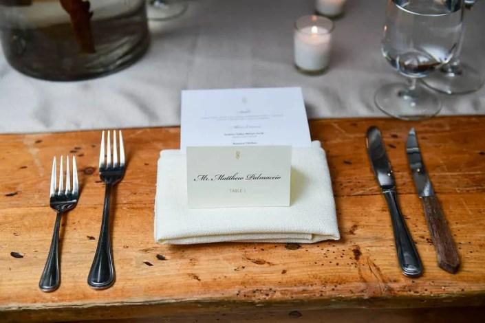 place setting - senate garage wedding