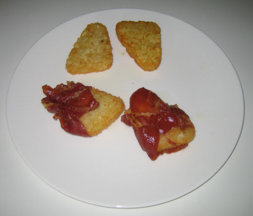 Hash browns wrapped in ham