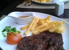 Rib-eye steak and chips