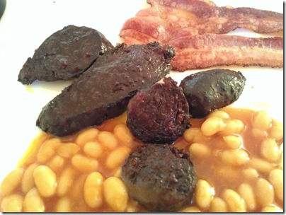 Slices of fried Morcilla with breakfast