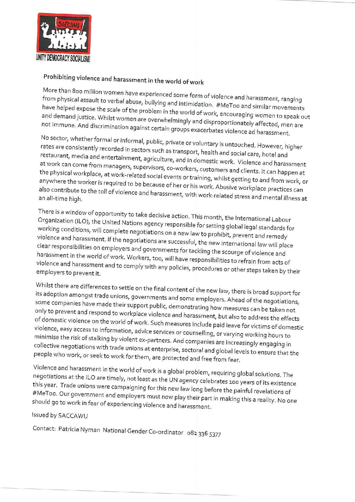 Saccawu statement