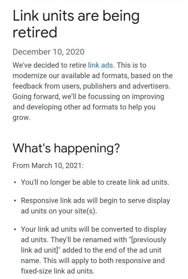 Annonce de retrait des annonces Google AdSense Link
