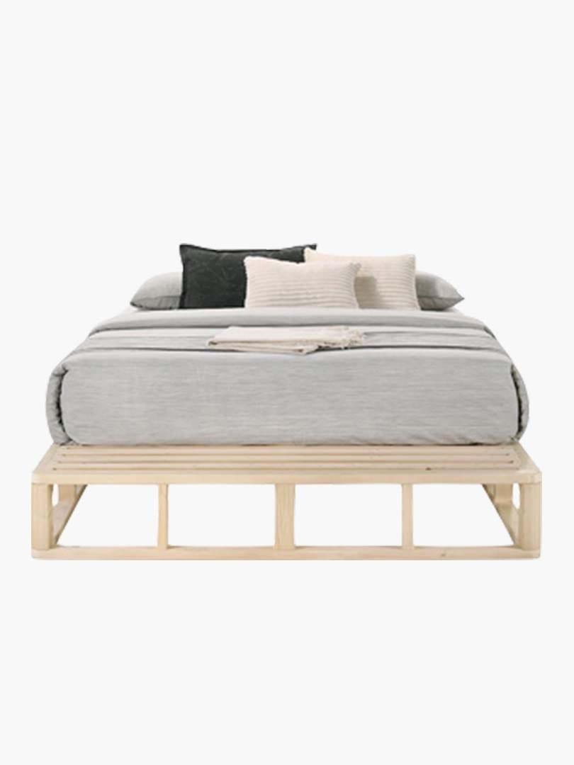Buy Pallet Bed Base Frame In Natural Solid Pine Wood Coastal Online Australia
