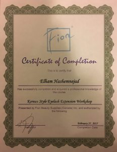 Certificate of Korean Eyelash Extension
