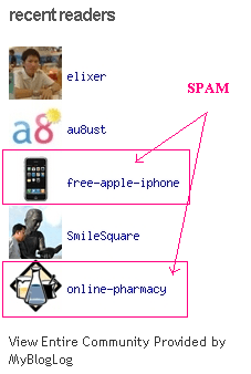 Mybloglog spam