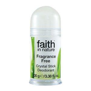 Faith in Nature - Crystal Stick Deodorant er vegansk, uparfumeret, og kan bruges til alle hudtyper.