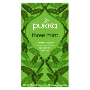Lækker økologisk myntete fra Pukka, som indeholder tre slags mynte, der giver en aromatisk og intens smag. Køb din økologiske te og wellnessprodukter hos Elixira.