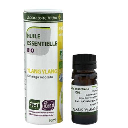 Æterisk Ylang ylangolie fra Laboratoire Altho (10 ml). De æteriske olier, Elixira sælger, er økologiske, veganske og fri for skadelige tilsætningsstoffer.