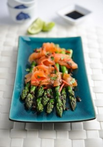 Asparagus and smoked salmon with ginger soy dressing