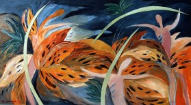 painting of tiger lilies doing a spear dance
