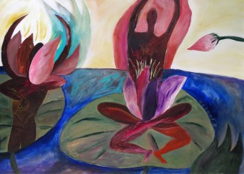 Pink Lotus Meditation Painting on Paper