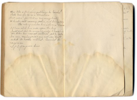Handwritten notes in the flyleaf of the textbook Merchant of Venice