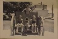 Jane, Richard and EB on the cannon at Victor Harbor in about 1965