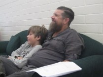 Richard and Jude watching one of the films at the end of the second workshop