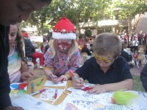 Kids at the table (with facepaint)