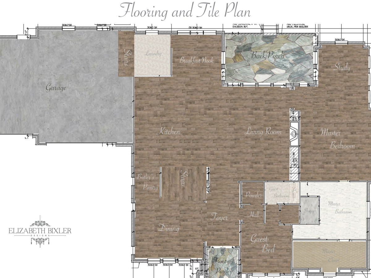 Flooring and Tile Plan Map with hardwood and concrete layout