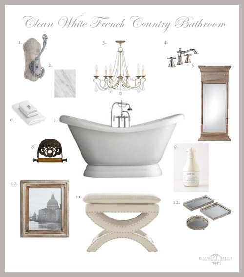 French Country Master Bathroom Decor Style Mood Board
