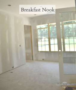 Unfinished drywall in breakfast nook