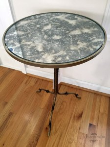 paint metal silver table with mirror