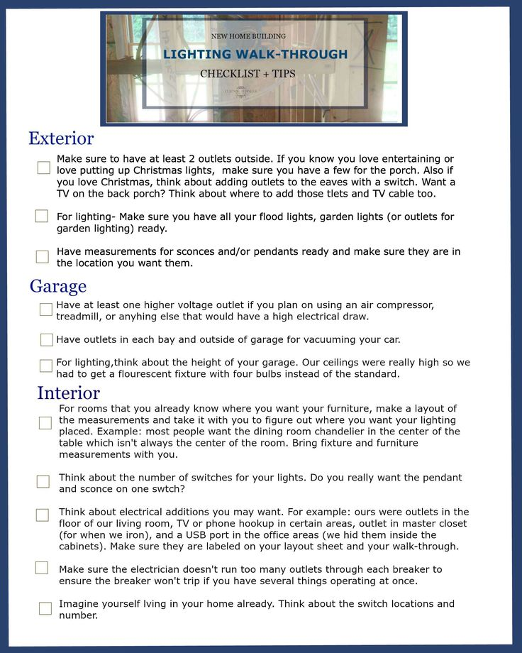 New home building lighting walk through checklist tips for Checklist for building a new house