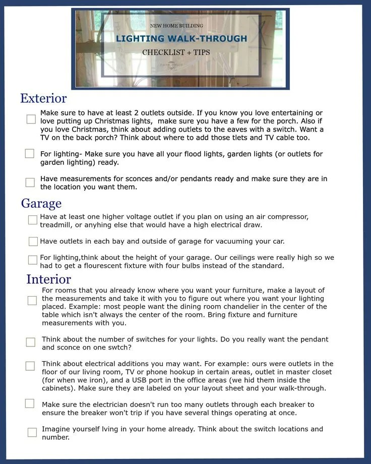 New home building lighting walk through checklist tips for Contractor checklist for building a house